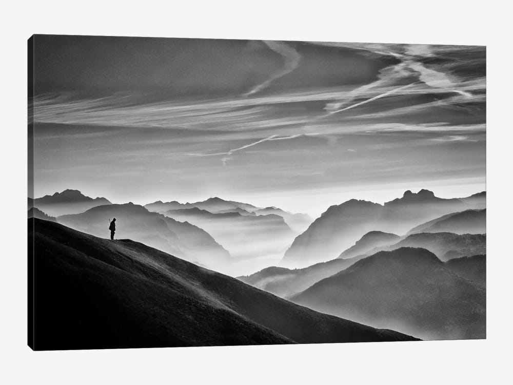 Hunter In The Fog B&W by Vito Guarino 1-piece Canvas Art Print