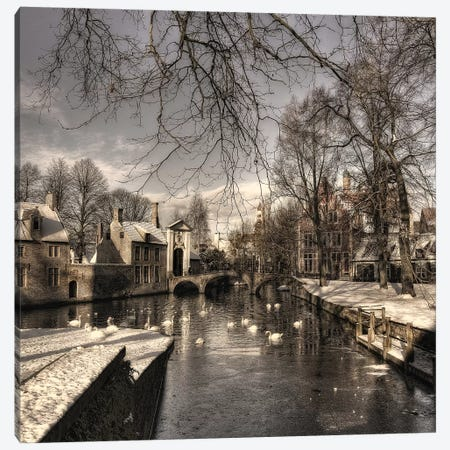 Bruges In Christmas Dress Canvas Print #OXM2248} by Yvette Depaepe Canvas Art