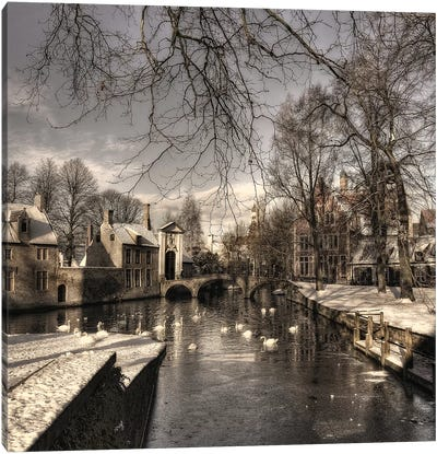 Bruges In Christmas Dress Canvas Art Print