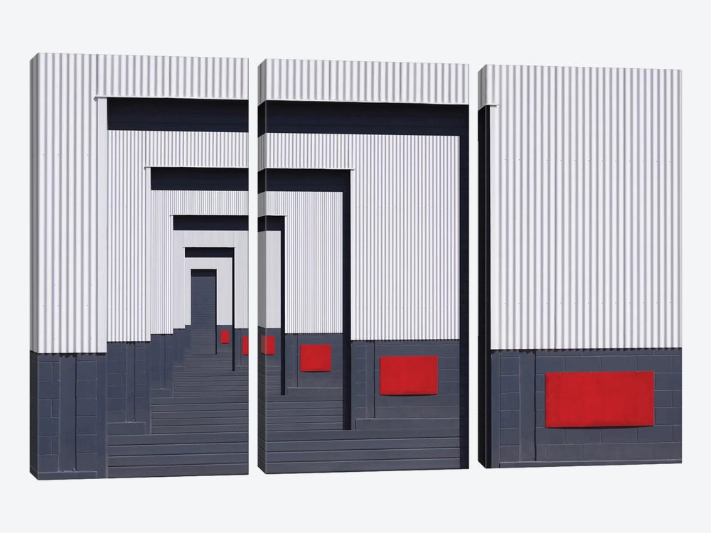 Red Rectangle by Jacqueline Hammer 3-piece Canvas Artwork