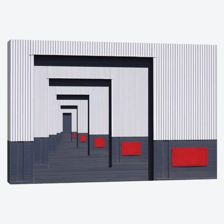 Red Rectangle Canvas Print #OXM2307} by Jacqueline Hammer Canvas Art