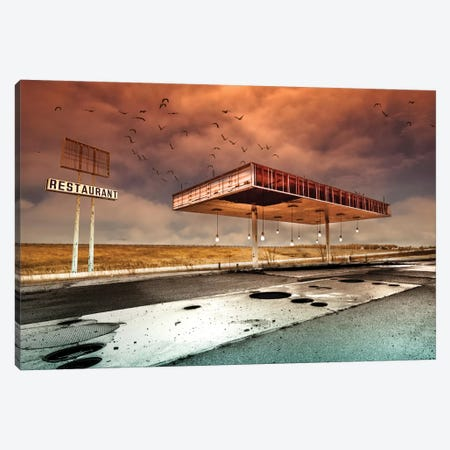 Gaz Bar Blues Canvas Print #OXM2359} by David Senechal Photographie Canvas Art