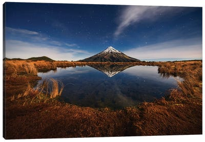 Mount Taranaki Under Moonlight Canvas Art Print