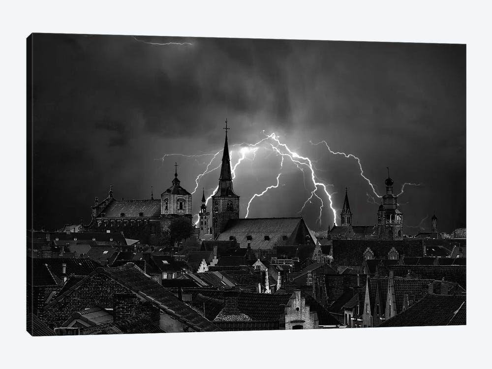 Chaos In The Sky Of Bruges 1-piece Canvas Art Print