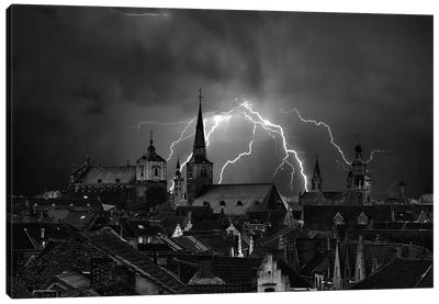 Chaos In The Sky Of Bruges Canvas Art Print