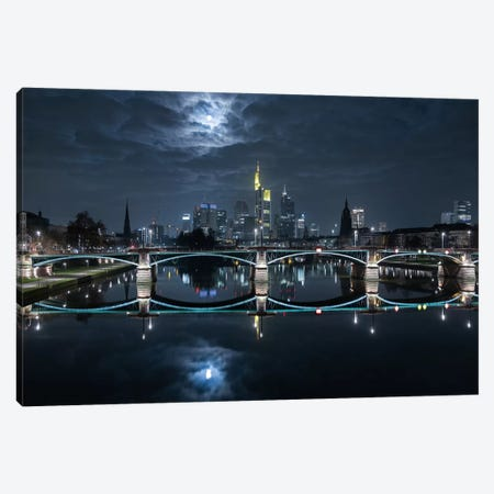 Frankfurt At Full Moon Canvas Print #OXM24} by Mike / Match-Photo Canvas Artwork