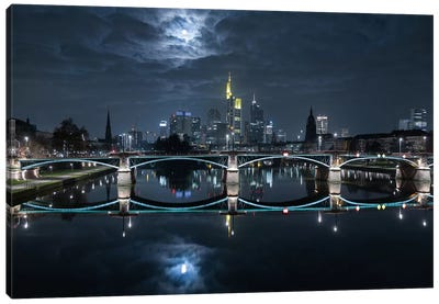 Frankfurt At Full Moon Canvas Art Print