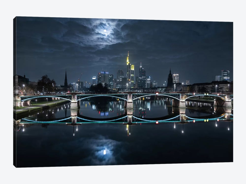 Frankfurt At Full Moon by Mike / Match-Photo 1-piece Canvas Artwork