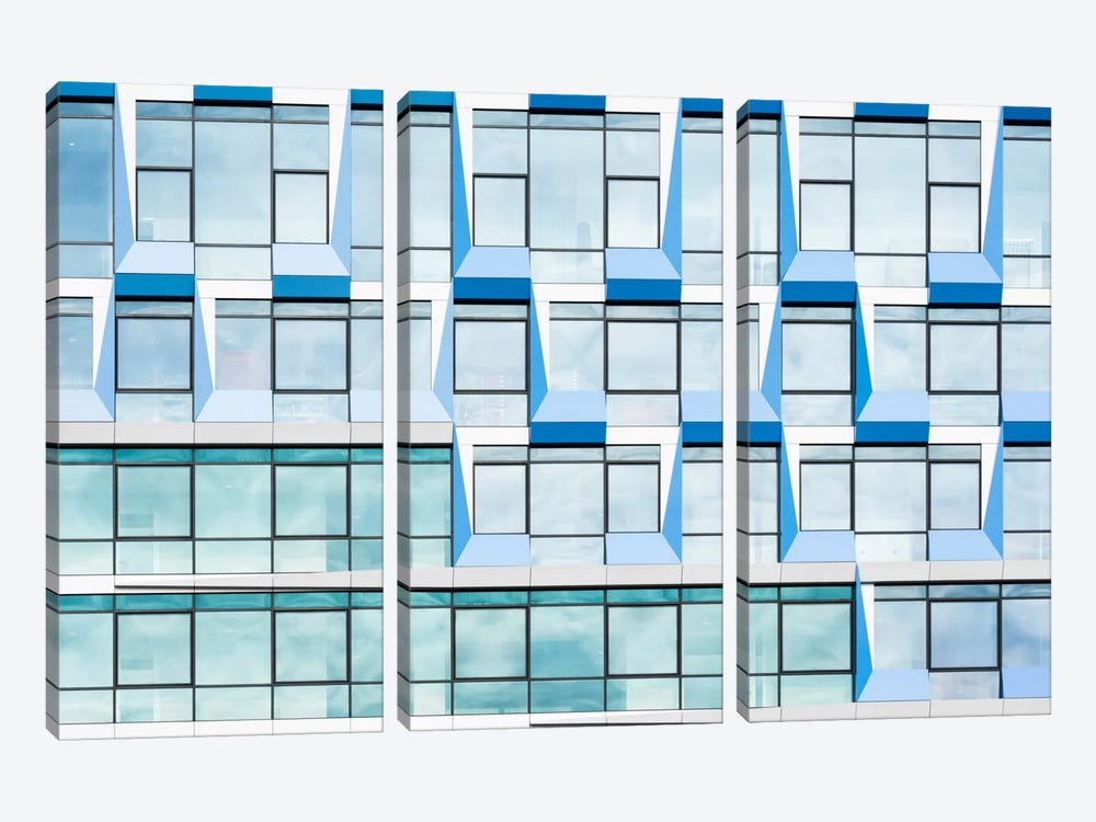 Blue Multiple Windows 3-piece Canvas Artwork