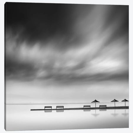 Four Benches And Three Umbrellas Canvas Print #OXM2732} by George Digalakis Canvas Artwork