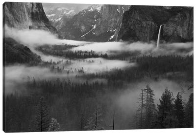 Fog Floating In Yosemite Valley Canvas Art Print