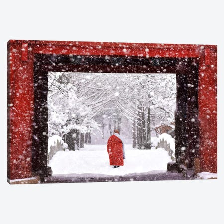 Monk In Snowy Day Canvas Print #OXM2936} by Bongok Namkoong Canvas Art Print