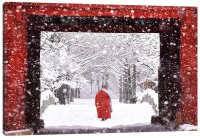 Monk In Snowy Day Canvas Art Print