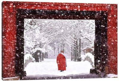 Monk In Snowy Day Canvas Art Print