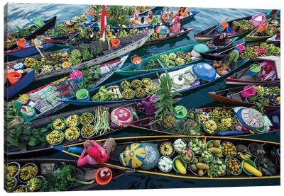 Banjarmasin Floating Market Canvas Art Print