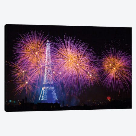 Fireworks At The Eiffel Tower For The 14 Of July Celebration Canvas Print #OXM3090} by Laurent Lothare Dambreville Canvas Wall Art