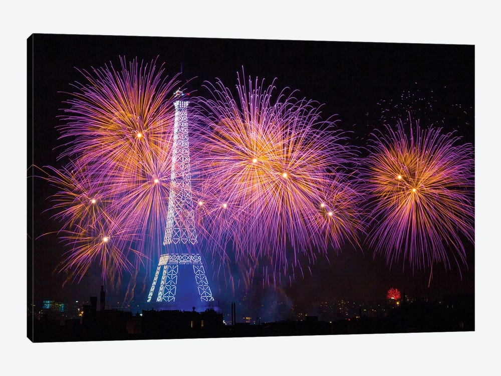 Fireworks At The Eiffel Tower For The 14 Of July Celebration by Laurent Lothare Dambreville 1-piece Canvas Artwork