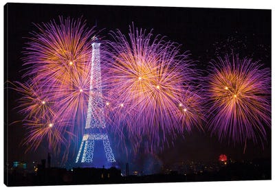 Fireworks At The Eiffel Tower For The 14 Of July Celebration Canvas Art Print