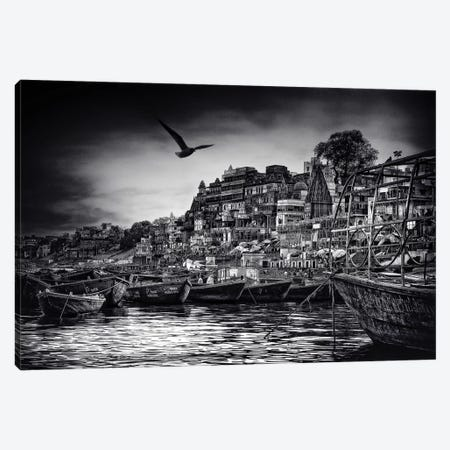 The Boats Of Varanasi Canvas Print #OXM3165} by Piet Flour Canvas Print