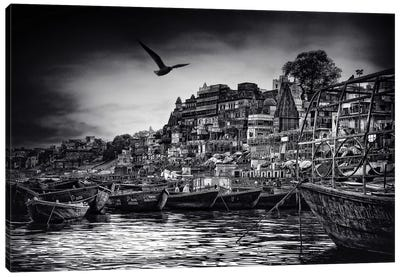 The Boats Of Varanasi Canvas Art Print