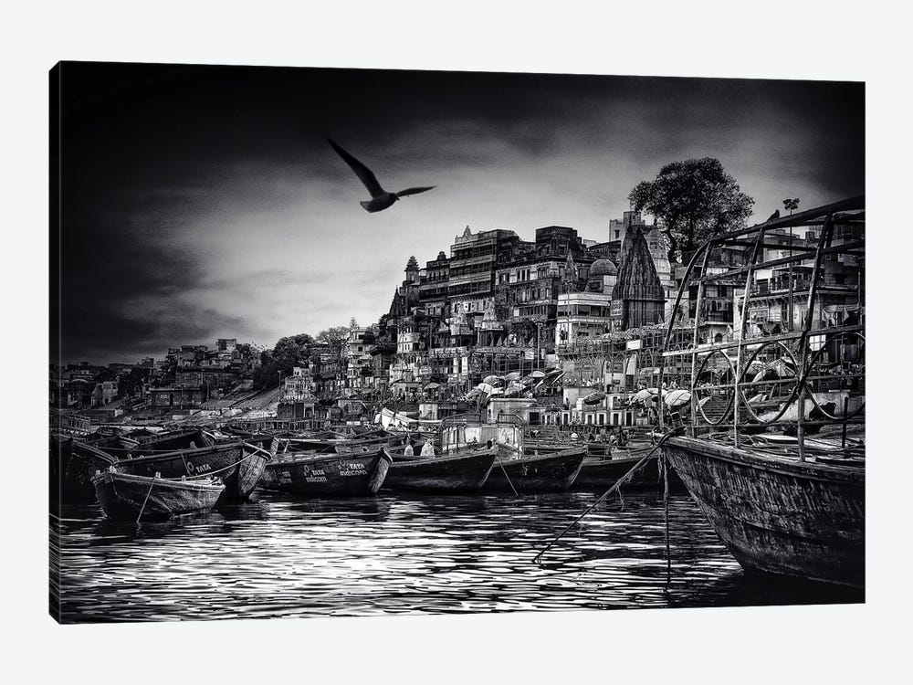 The Boats Of Varanasi by Piet Flour 1-piece Canvas Art Print