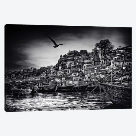 The Boats Of Varanasi Canvas Print #OXM3165} by Piet Flour Canvas Print