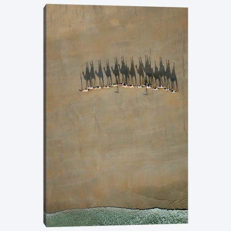 Broome Camel Train Canvas Print #OXM3174} by Renee Doyle Canvas Wall Art