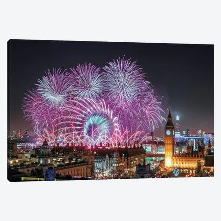New Year's Fireworks Canvas Print #OXM3197} by Stewart Marsden Canvas Art