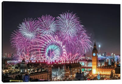 New Year's Fireworks Canvas Art Print