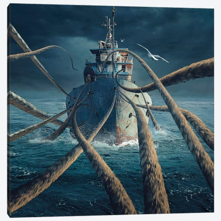 Caught The Ship Canvas Print #OXM3199} by Sulaiman Almawash Canvas Print