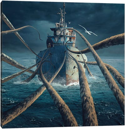 Caught The Ship Canvas Art Print