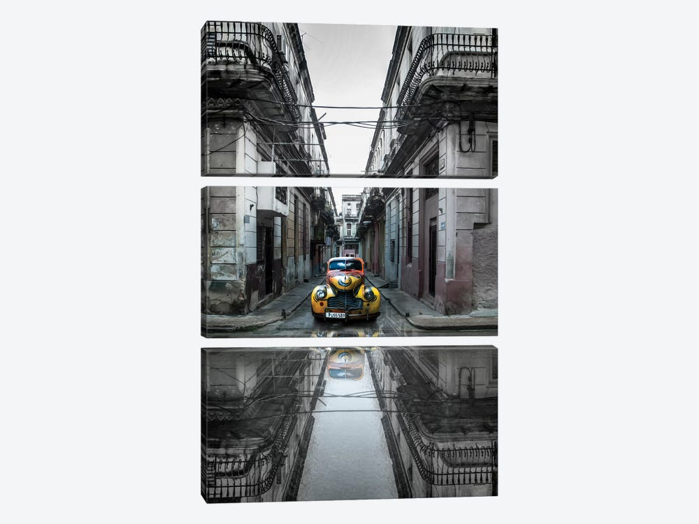 Classic Old Car In Havana, Cuba by Svetlin Yosifov 3-piece Canvas Art