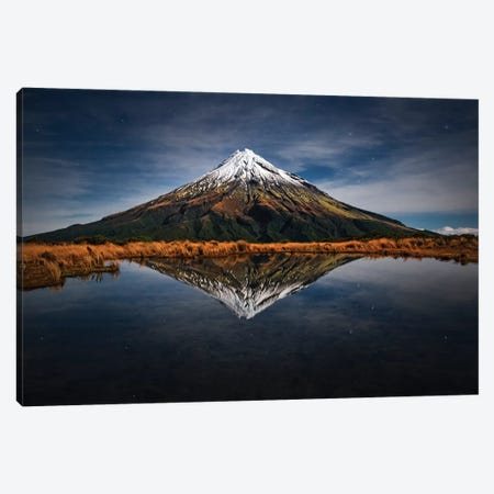 Mount Taranaki - A Starry Night Canvas Print #OXM3232} by Yan Zhang Canvas Artwork