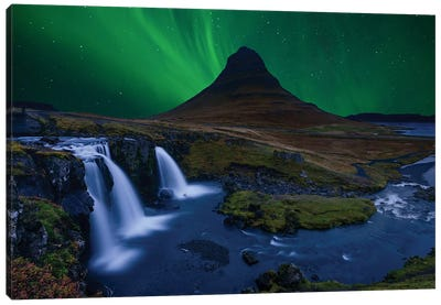Kirkjufell... Under A Boreal Green Sky Canvas Art Print