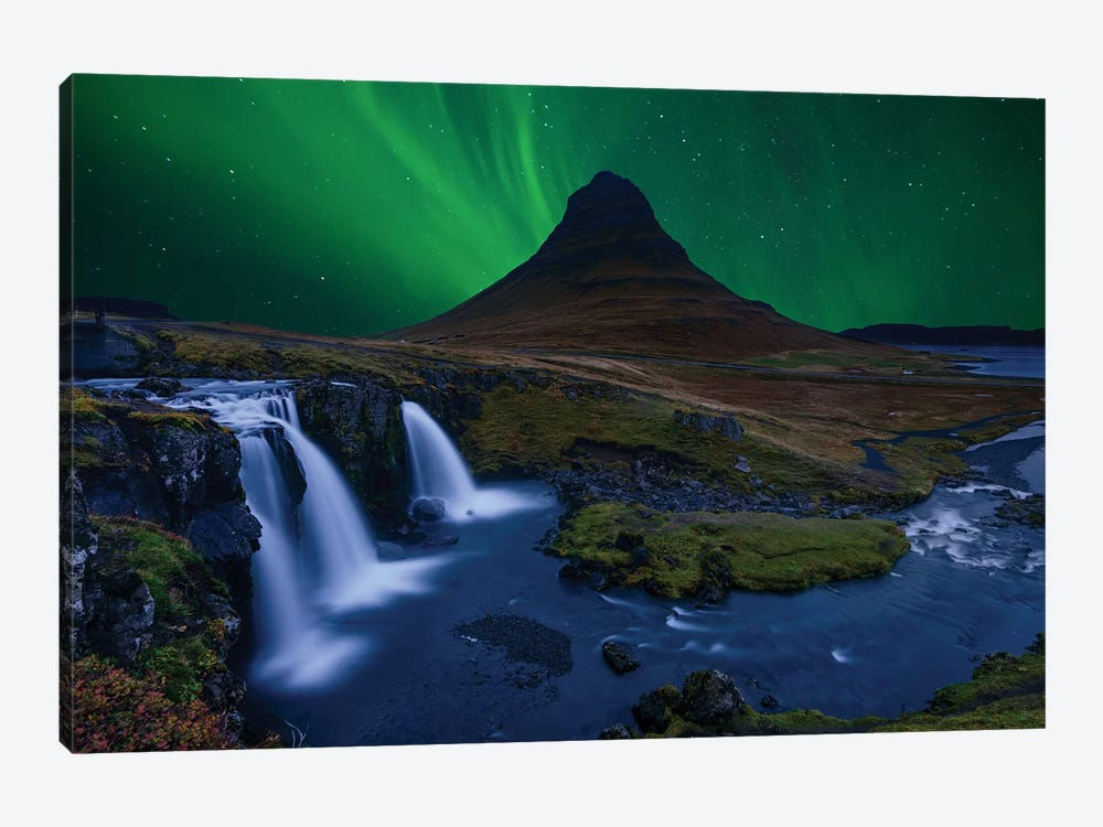 Kirkjufell... Under A Boreal Green Sky by Alvaro Roxo 1-piece Canvas Print