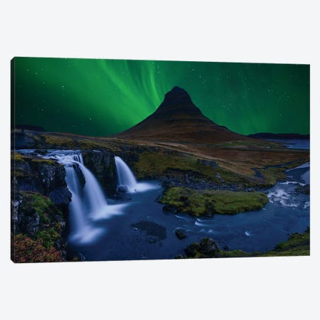 Kirkjufell... Under A Boreal Green Sky Canvas Print #OXM3281} by Alvaro Roxo Canvas Art Print