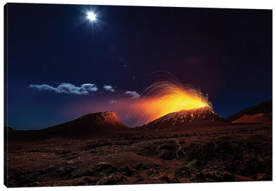 Lava Flow With The Moon Canvas Art Print