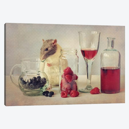 Snoozy Loves To Eat Canvas Print #OXM3465} by Ellen van Deelen Canvas Artwork