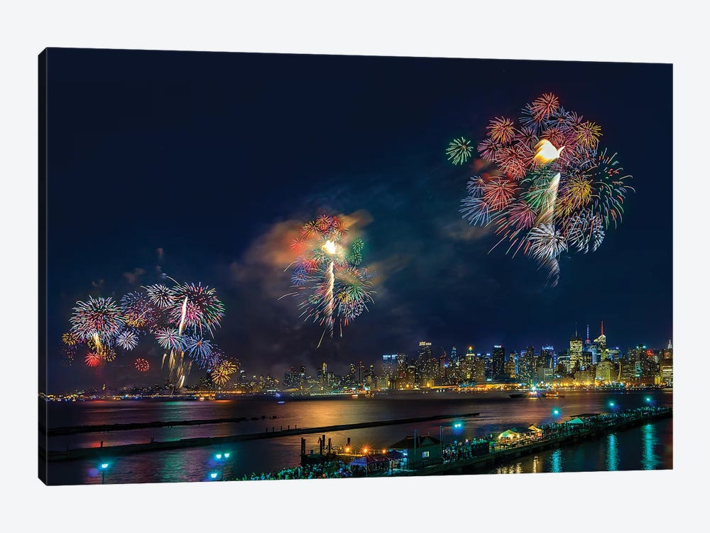 Celebration Of Independence Day In NYC by Hua Zhu 1-piece Canvas Art