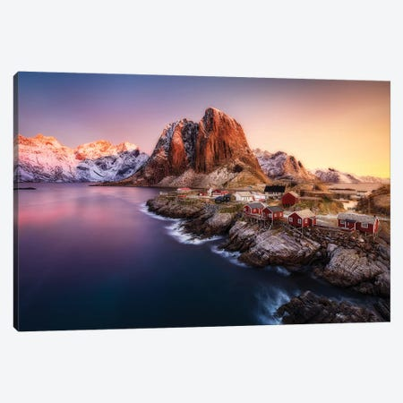Hamnøy Sunrise Canvas Print #OXM3614} by Javier de la Torre Canvas Art Print