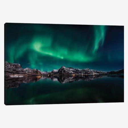Lofoten Aurora Reflection Canvas Print #OXM3617} by Javier de la Torre Art Print