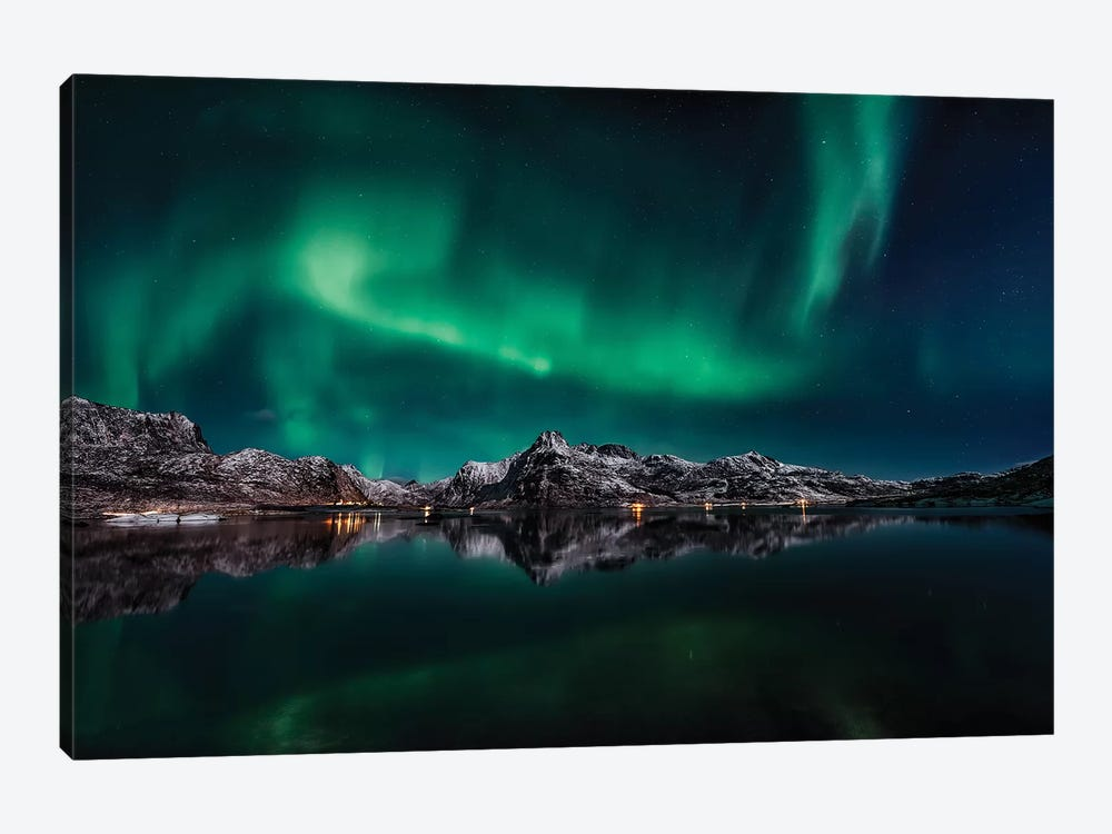 Lofoten Aurora Reflection 1-piece Art Print