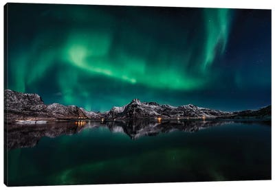 Lofoten Aurora Reflection Canvas Art Print