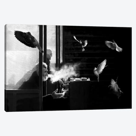 The Man Of Pigeons Canvas Print #OXM3667} by Juan Luis Duran Canvas Art