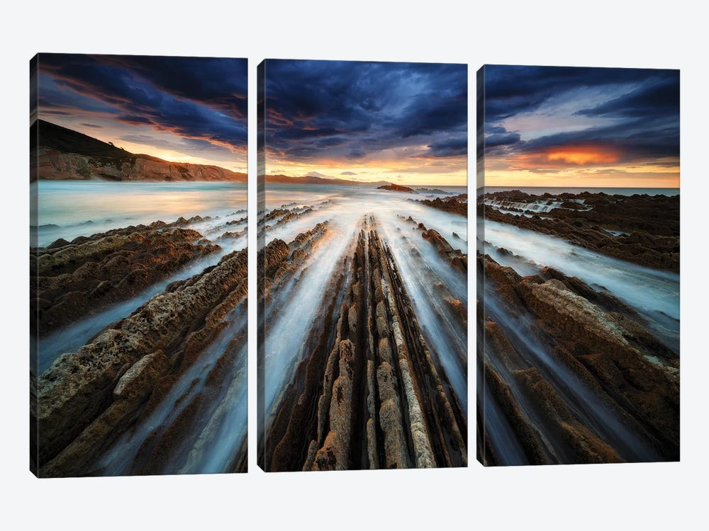 Zumaia Flysch by Juan Pablo de Miguel 3-piece Canvas Wall Art