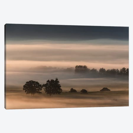 Dense Fog Over The Moos... Canvas Print #OXM3881} by Nina Pauli Canvas Print