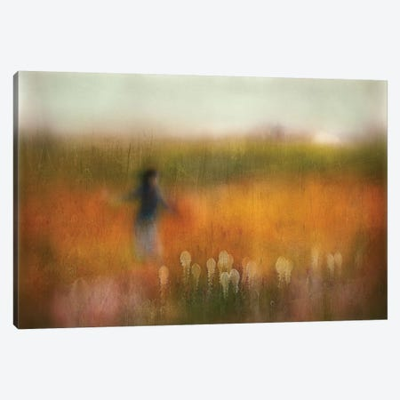 A Girl And Bear Grass Canvas Print #OXM4033} by Shenshen Dou Canvas Print