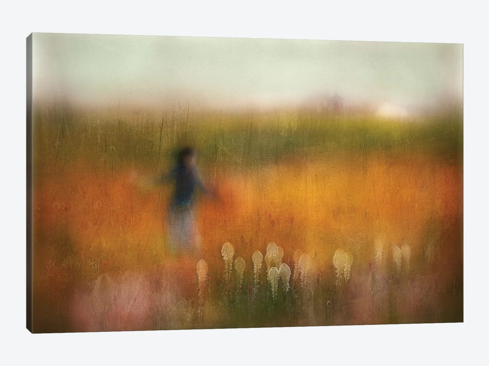 A Girl And Bear Grass by Shenshen Dou 1-piece Canvas Print
