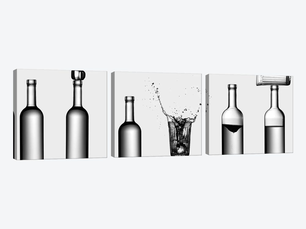 Bottles Game by Valeriy Kasmasov 3-piece Canvas Print