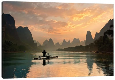 Golden Li River Canvas Art Print
